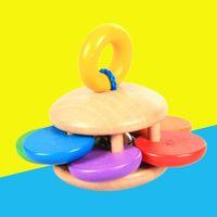 hölzerne handglocke großhandel-Großhandels-Baby-hölzernes Greifen Bell-Holz rattert reizende Form-Handrassel-Erschütterung