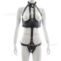 Wholesale Sex Outfit Women - 2017 Nail Black Leather Sexy Underwear Women Sex Lingerie Fetish Open Crotch Breast Exposed Outfit Bondage Adult Games Sex Toys