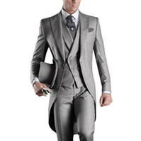 Wholesale Mens Champagne Wedding Suit - Wholesale- Best Selling 2016 Custom Mens Suits Italian Tailcoat Gray Wedding Suits For Men Groom Mens Tuxedo Suits (Jacket+Pants+Vest)