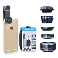 Wholesale Hd 198 - HD Camera Lens Kit 5 in 1 198° Fish Eye Telephoto Lens Wide Angle for iPhone 6 Plus 7 Plus Samsung S7 Edge