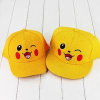 Wholesale Soft Pikachu Hat - 2 Styles Poke Pikachu Plush Hat Toys Anime Cartoon Cosplay Hat Plush Soft Caps for kids gift free shipping retail
