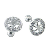 Wholesale Pointed Piercing Studs - Modern Trendy Round Six Pointed Flower Shaped Earrings Cartilage Helix Piercing Jewelry Charms Stainless Steel Barbell Ear Studs