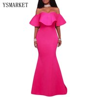 2017 Retro Party Mermaid Dress Estate Sexy Rosa Chiaro Solid Ruffle Senza Spalline Off Shoulder Maxi Abiti Vintage Abiti E61525