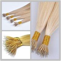 Wholesale Nano Ring Human Hair Extensions - 2017 Hot Sale 10A--Double Drawn Peruvian human Straight hair Color 613# Nano ring hair extension with 16inch 1g s&200s Lot