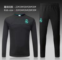 Wholesale New Kids Sportswear - TOP THAI QUALITY new 17-18 Real Madrid kids soccer chandal white football tracksuit 2017-2018 kids training suit skinny pants Sportswear