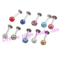 Wholesale red lip studs resale online - Crystal Gem Labret TragusLip Ring Stud Bar Body Piercing mm ball Shambhala Resin16Gauge mm mm mm
