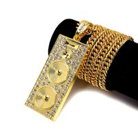 Wholesale Crystal Cross Costume Necklace - 2017 Long Chain Hip Hop Loudspeaker Shape Costume Jewelry Gold Necklace New Gold Chain Design For Men Women Gift