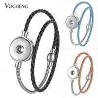 Wholesale Double Leather Charms Bracelet - NOOSA Ginger Snap Button Charms Bracelet 10 Colors Double Leather Stainless Steel Magnet Clasp Fit 18mm NN-585