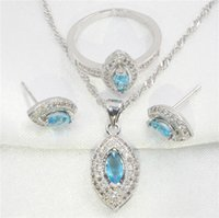 Wholesale Boxed Set 925 Silver - Horse eye shape sky blue topaz 925 sterling silver jewelry earring, pendant necklace, the wedding ring set women free gift box