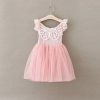 Wholesale cute embroidered baby clothes for sale - Group buy New Girls Princess Dresses Children Cotton Top with Lace Tulle Tutu Dresses Fashion Cute Baby Kids Clothes