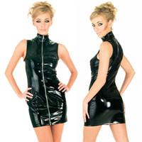 Wholesale Celeb Black Spandex Dress - SEXY WOMENS BLACK DRESS PVC WET LOOK FAUX LEATHER BODYCON CELEB CLUBWEAR PARTY DRESS GL821 SIZE SMLXLXXL