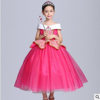 Wholesale Cosplay Bow - Aurora Princess Halloween Party Evening Costume Children Cosplay Dress Party Dresses Girl Princess Pearl Dress Kids Clothes Girls Dresses