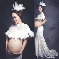 Wholesale Pregnant Costumes - New Maternity Photography Props costume pregnant women Long Mermaid Dress elegant Fashion Princess Baby Shower