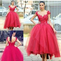 Wholesale tea length ball dresses - Red Cap Sleeve Prom Dresses 2018 Lace Appliques Tulle Layers Evening Gowns Tea Length Ball Gown Women Formal Party Vestidos Cheap