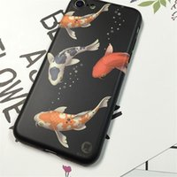 Wholesale Iphone Frosted Cartoon Case - Phone Cases For iphone 7 7 Plus Frosted Ultra-thin Soft IMD TPU GEL Rubber Cover Cute Cartoon Swimming Goldfish Pattern Shell Capa