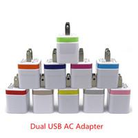 cargadores de telefono apple i al por mayor-Cargadores de pared EE. UU. Enchufe 5V 2A Adaptador de alimentación USB doble Adaptador de cargador de 2 puertos para i Phone 6 5s pad air para Samsung