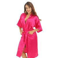 Wholesale- Hot Pink Female Sexy Silk Rayon Robe Chinese Women Sleepwear  Kimono Bath Gown Nightgown Plus Size S M L XL XXL XXXL ba73197d3