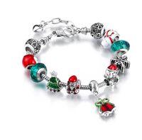 Wholesale Pandora Silver Bells - European Pandora Style Charm Bracelets with Enamel Christmas Tree Bear Silver Charms & Christmas Bell Dangles Fashion DIY Bangle Bracelets