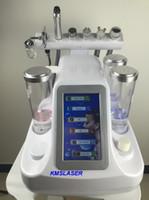 microdermoabrasión ultrasónica para rejuvenecimiento de la piel. al por mayor-Peladora de agua hidrafacial portátil 6 en 1 Hidro microdermoabrasión ultrasónico para el cuidado de la piel equipo de rejuvenecimiento BIO RF
