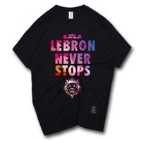 Wholesale Lebron T Shirts - James Basketball T Shirt Short Sleeve Fashion Hip Hop Street Style Lebron Never Stops Basket Ball T Shirt Man