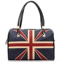 Wholesale British Vintage Leather Bag - Wholesale-New Fashion Women's British Style Union Jack UK Flag Leather Handbag Shoulder Big Bagfor women Vintage Messenger Bag QT2030