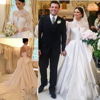 Wholesale Cheap Empire Line Tops - 2018 Vintage Long Sleeves Wedding Dresses Illusion Lace Top Satin Skirt Wedding Gowns Open Back Sexy Boho Bridal Dress Cheap