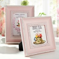 Wholesale Baby Wooden Picture Frame - Pink Wooden Photo Frame Wedding Baby Family Vintage Photo Picture marcos de fotos pared Collage Photo Frames molduras para foto