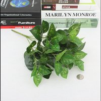 Wholesale Trees Plastic Leaves - Wholesale- Large 50CM Evergreen Artificial Plant 25 Leaves Lifelike Bush Potted Plants Plastic Green Tree Home Garden Office Decoration