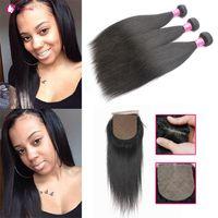 Wholesale peruvian hair silk closure piece - Brazilian Virgin Human Hair Weave 3 Bundles With Silk Closure 1B Soft Straight Hair Weft With Silk Base Closures For Black Women