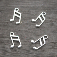Wholesale Antique Notes - 60pcs-- Music note Charms, Antique Tibetan Silver Tone Treble Clef charm pendants, musical charm 8x14mm