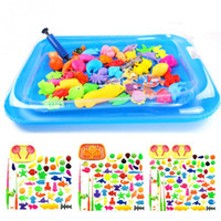 Wholesale Magnetic Toy Fishing Rods - 50 65 80pcs Set Fish Pond Game Magnetic Fishing Pole Rod 3D Fish Model Baby Bath Toys Outdoor Fun Kids Toy+Pool+Small Inflator