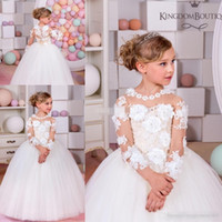 Wholesale Beautiful Girls Picture - Beautiful Flower Girl Dresses Floor Length Ball Gown Children Toddler With Handmade Flowers White Long Sleeve Baby Child Communion Dresses