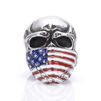 Wholesale Personalized Vintage Rings - Stainless Steel American Flag Mask Skull Biker Bang Ring Vintage Gothic Titanium Steel Rings Men Fashion Personalized Ring Jewelry
