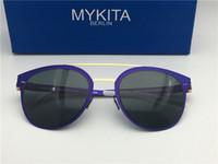 ingrosso blu trattino-Nuovi occhiali da sole mykita DASH per uomo telaio pilota con telaio ultraleggero a specchio Occhiali da sole oversize Memory Alloy per donna design fresco per l'esterno