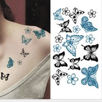 Wholesale Tattoo Designs Hand Butterfly - Colored Butterfly Design Fake Tatoo Waterproof Women Body Art Painting Tattoo Stickers Sexy Temporary Tattoo Sticker HC1003