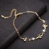 Wholesale butterfly bracelet for girls - New Fashion Women Charm Bracelet 18K Yellow Gold Plated Super Shiny AAA Clear CZ Butterfly Bracelet for Girls Women