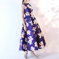Wholesale Simple Floral Prom Dresses - A Line Floral Printed Pageant Prom Princess Dress 2017 Evening Graduation Gown Sexy Sleeveless Formal Quinceanera Homecoming Dresses