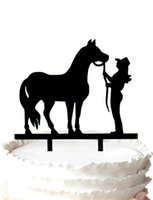 Wholesale Wedding Topper Silhouette - wedding cake topper-silhouette A horse and Woman monogram cake toppers,37 color for option Free Shipping