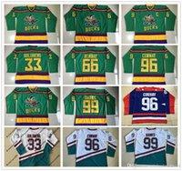 Wholesale Ice Hockey Logo - 1996-06 Anaheim Mighty Ducks Movie Jersey 33 Greg Goldberg 66 Gordon Bombay 96 Charlie Conway 99 Adam Banks Hockey Jersey Stitched Logos
