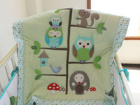 7 Pezzi Set Cotone Cater Baby Bedding Set Ricamo Green Tree Owl Baby Nursery Crib Bumper Quilt Fitted Sheet 100% Cotone