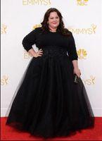 Wholesale Emmy Awards V Neck Ruffle - Black Plus Size Celebrity Gowns Long Sleeves Prom Dresses Modest Beaded Emmy Awards Melissa McCarthy Evening Red Carpet Dress