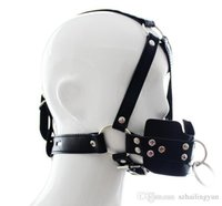 Wholesale adults headbands - Adult supplies locking traction mouth containing device High quality PU Sex bondage harness type full out gag Fetish limit Headband