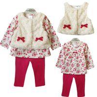 Wholesale Girls Floral T Shirt - Baby Girls Floral Print Sets 2017 Spring Kids Girl Fleece Waistcoat+T Shirts+Leggings 3pcs Suits Infant Cotton Outfits Children Clothes S355