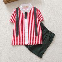 Wholesale Boys Shorts Pants Set - Summer season boys clothes kids shirt+pant 2pcs sets short sleeve children cute clothing baby suit set