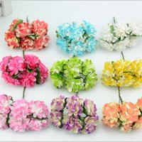 Wholesale Wedding Mini Paper Roses - 144pcs lot 3cm 9colors Mini Artificial Paper Rose Flower Bouquet Wedding Decor Scrapbookingg Rose Flower Kiss Ball