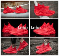 Wholesale Breathe Design - 2017 New Design Air Huarache 4 Running Shoes All Red Mesh Huraches Ultra Breathe For Men And Women Huaraches Sports Sneakers Size 36-46