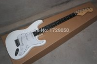 Wholesale Strat Fingerboard - Wholesale- Chinese Factory musical Instruments Top quality 2015 New STrat Electric Guitar white color Rosewood fingerboard free shipping
