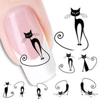 Wholesale Professional Nail Art Decals Wholesale - Wholesale- Stylish Hot 1Pcs Professional Cat Water Transfer Slide Decal Sticker Nail Art Tips To Decor for Nail artificial beauty Tools