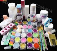 Wholesale Acrylic Starter Set - Wholesale- stylish Nail Art Kit Set Acrylic powder liquid primer UV dust stickers brush Monomer starter kit