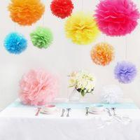 "Wholesale Pompom Paper - Wholesale-Pom Poms 12"" 30cm Haning Tissue Paper Flower Pompoms Rose Balls Baby Shower Wedding Party Decorations Artificial Flowers Balls"